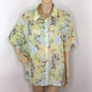 Pendleton Floral Short Sleeve Button Down Blouse